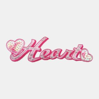Heart tekst strijkapplicatie met een hartje aan zowel de linkerzijde als de rechterzijde