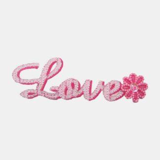 Love tekst strijkapplicatie met bloemetje aan de rechterzijde