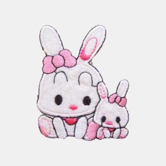 Schattige konijntjes met roze strik strijkapplicatie