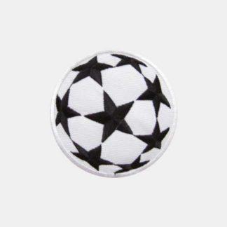 Voetbal met zwarte sterren strijkapplicatie